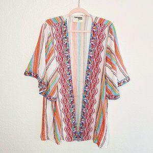 Savanna Jane Cardigan Kimono Embroidered Stripe